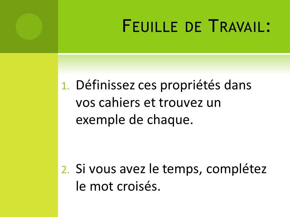 F EUILLE DE T RAVAIL : 1.