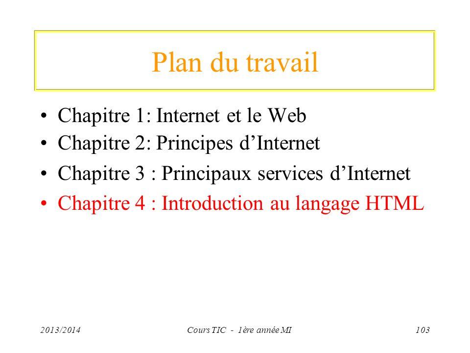 Plan du travail Chapitre 1: Internet et le Web Chapitre 2: Principes dInternet Chapitre 3 : Principaux services dInternet Chapitre 4 : Introduction au