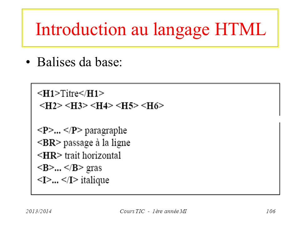 Introduction au langage HTML Balises da base: 2013/2014Cours TIC - 1ère année MI106