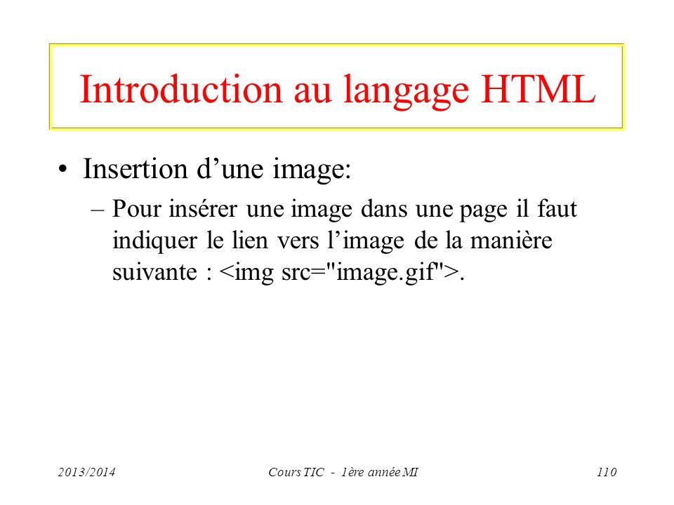 Introduction au langage HTML Insertion dune image: –Pour insérer une image dans une page il faut indiquer le lien vers limage de la manière suivante :