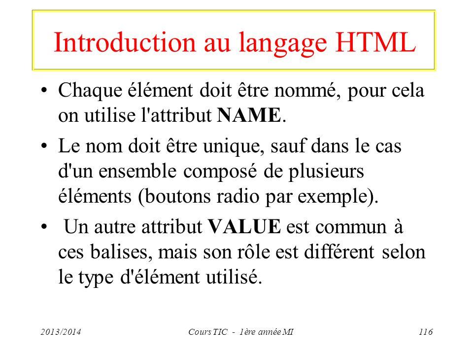 Introduction au langage HTML Chaque élément doit être nommé, pour cela on utilise l'attribut NAME. Le nom doit être unique, sauf dans le cas d'un ense
