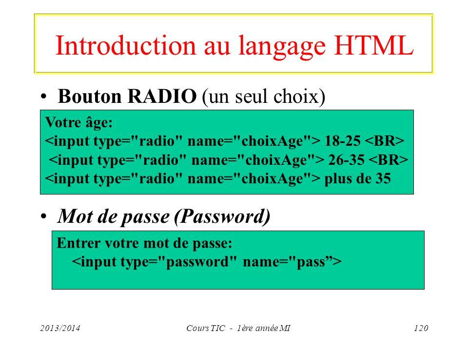 Introduction au langage HTML Bouton RADIO (un seul choix) Mot de passe (Password) 2013/2014Cours TIC - 1ère année MI120 Votre âge: 18-25 26-35 plus de