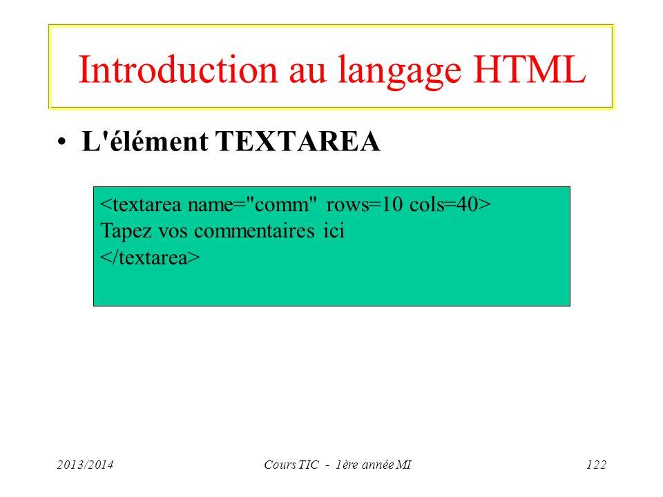 Introduction au langage HTML L'élément TEXTAREA 2013/2014Cours TIC - 1ère année MI122 Tapez vos commentaires ici