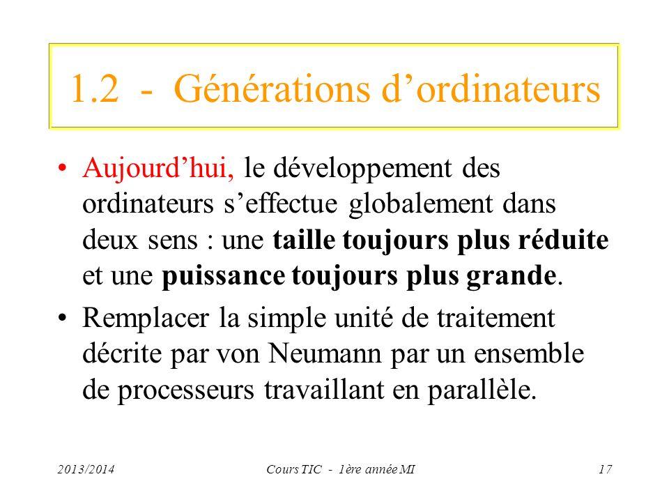 1.2 - Générations dordinateurs Aujourdhui, le développement des ordinateurs seffectue globalement dans deux sens : une taille toujours plus réduite et