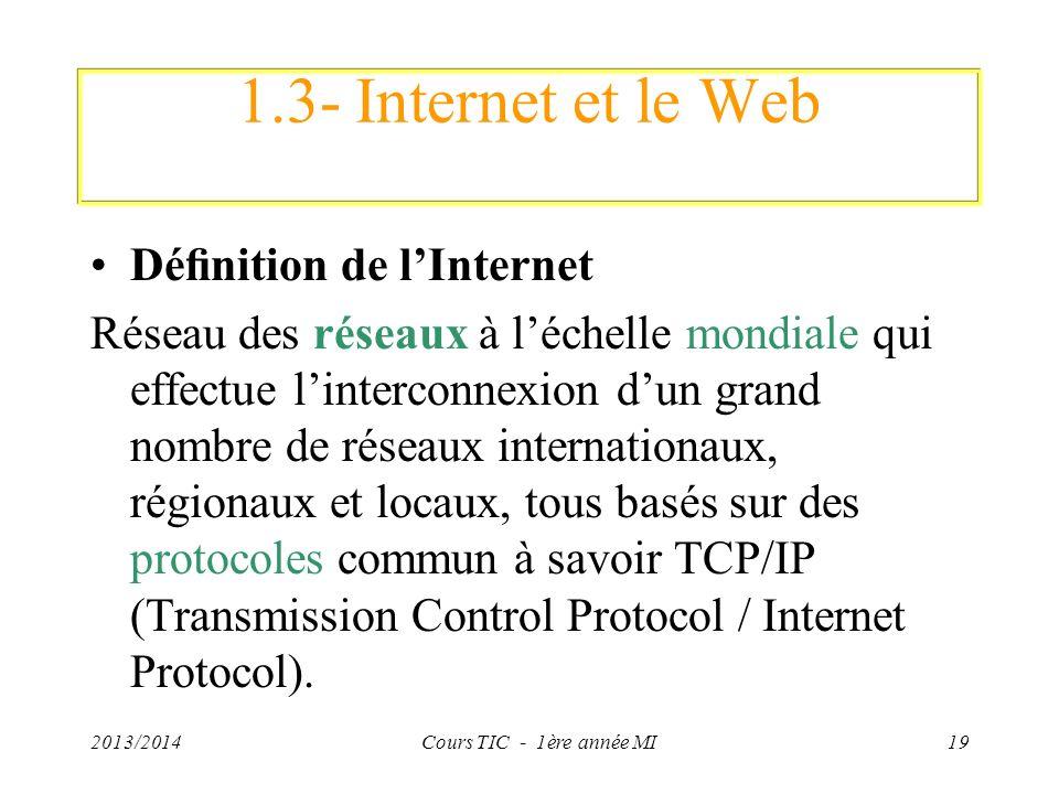1.3- Internet et le Web Dénition de lInternet Réseau des réseaux à léchelle mondiale qui effectue linterconnexion dun grand nombre de réseaux internat