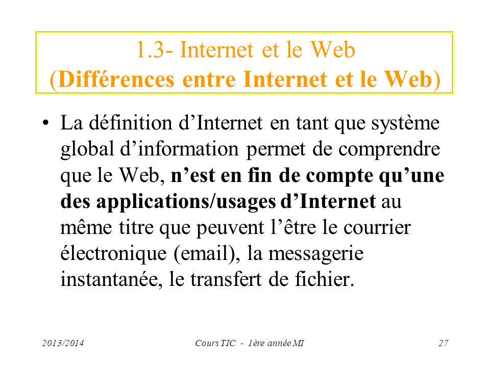 1.3- Internet et le Web (Différences entre Internet et le Web) La définition dInternet en tant que système global dinformation permet de comprendre qu