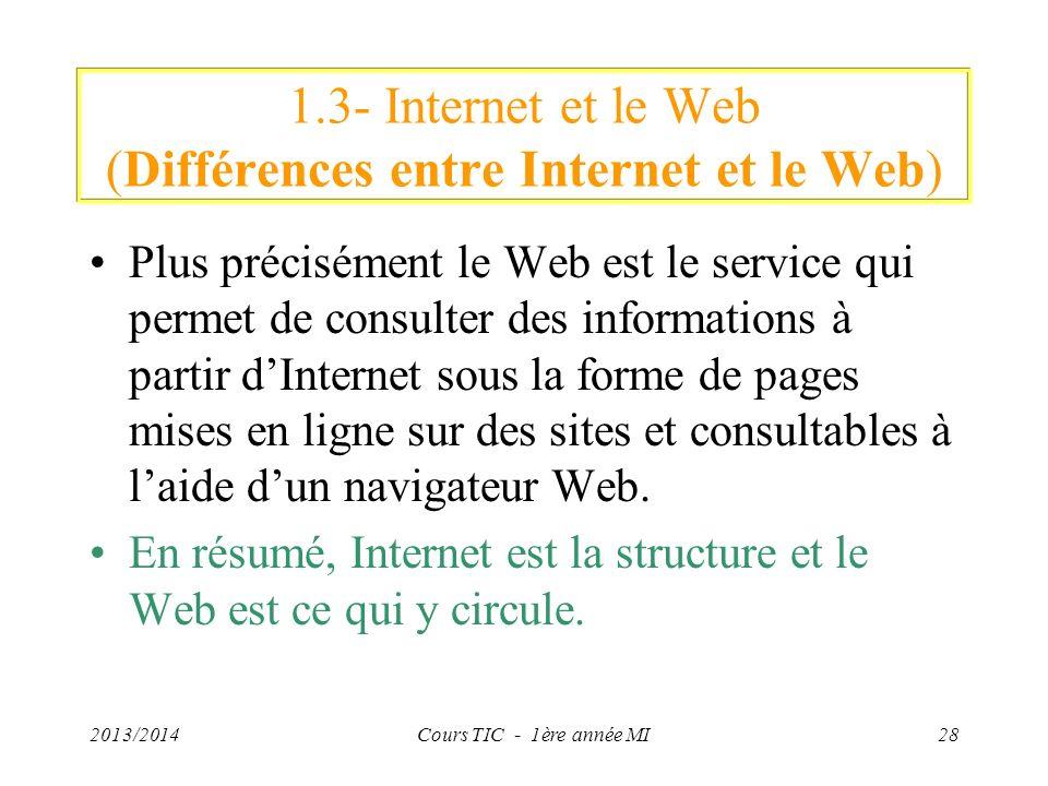 1.3- Internet et le Web (Différences entre Internet et le Web) Plus précisément le Web est le service qui permet de consulter des informations à parti