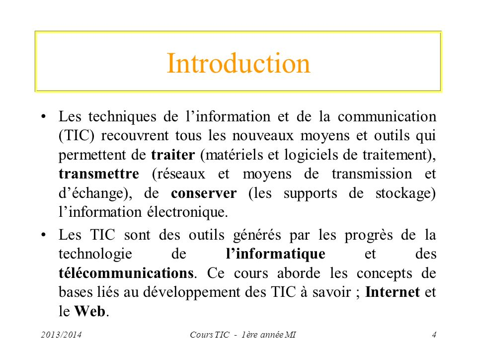 Protocole de communication (TCP/IP) Classe A: 2013/2014Cours TIC - 1ère année MI75 Dans une adresse IP de classe A, le premier octet représente le réseau.