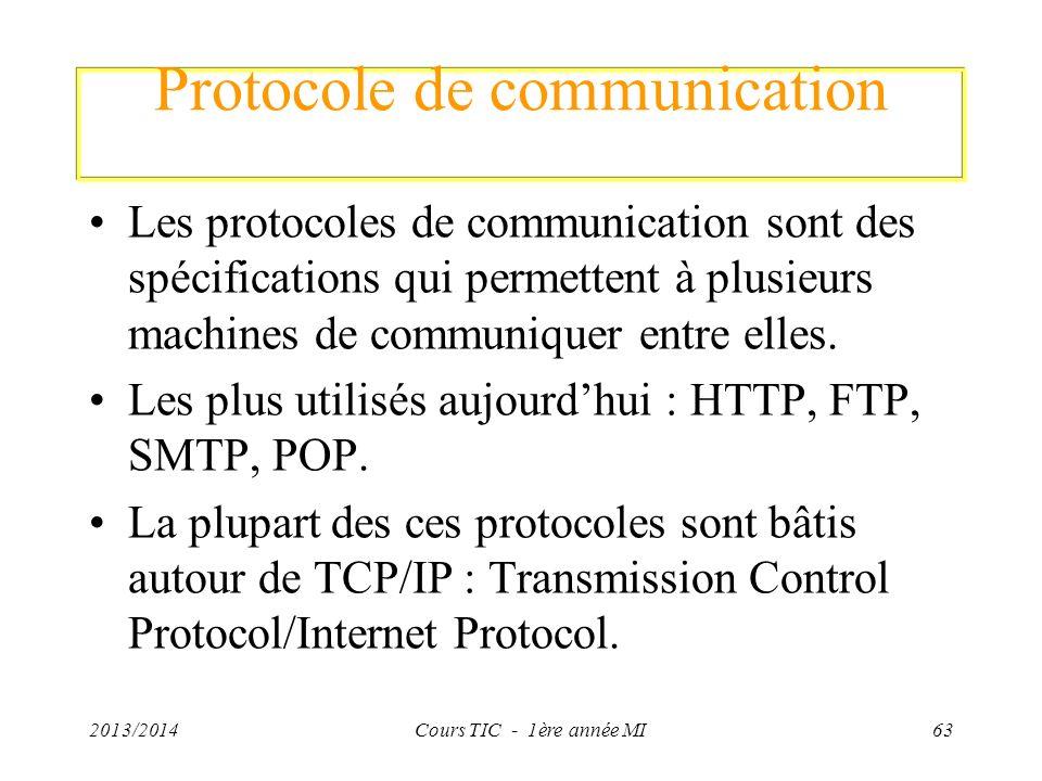 Protocole de communication Les protocoles de communication sont des spécifications qui permettent à plusieurs machines de communiquer entre elles. Les