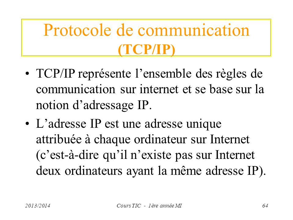 Protocole de communication (TCP/IP) TCP/IP représente lensemble des règles de communication sur internet et se base sur la notion dadressage IP. Ladre