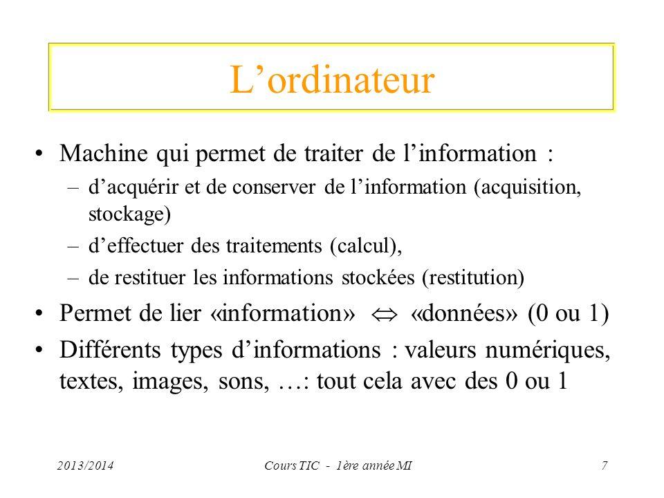 2013/2014Cours TIC - 1ère année MI7 Lordinateur Machine qui permet de traiter de linformation : –dacquérir et de conserver de linformation (acquisitio