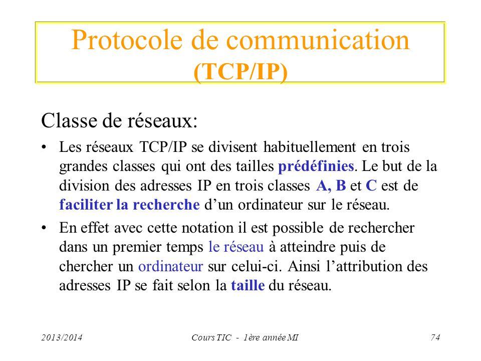 Protocole de communication (TCP/IP) Classe de réseaux: Les réseaux TCP/IP se divisent habituellement en trois grandes classes qui ont des tailles préd
