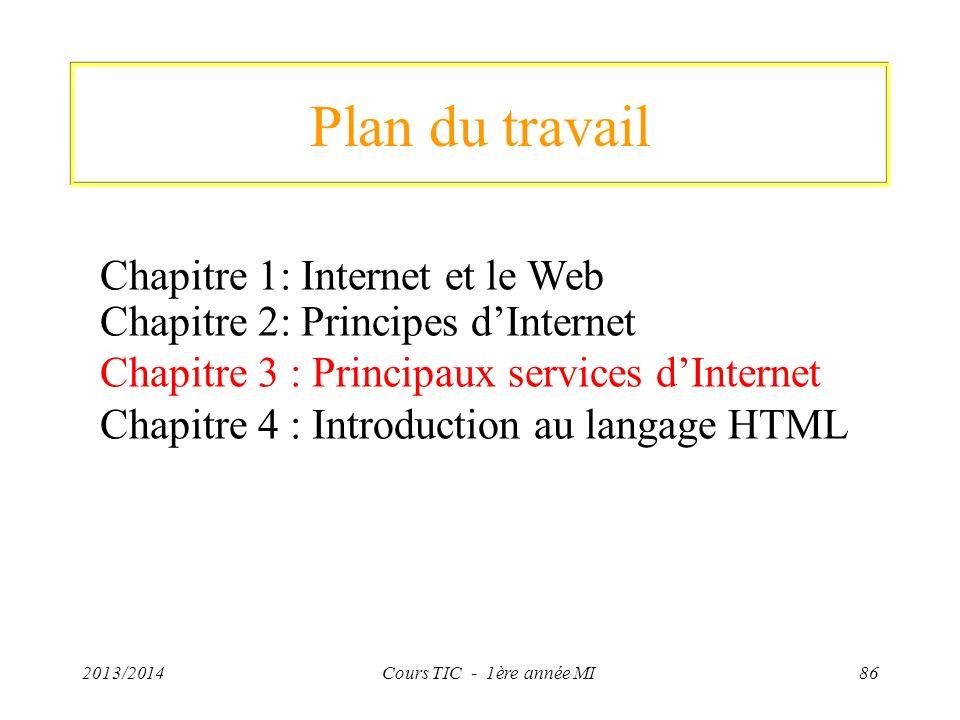 Plan du travail 2013/2014Cours TIC - 1ère année MI86 Chapitre 1: Internet et le Web Chapitre 2: Principes dInternet Chapitre 3 : Principaux services d