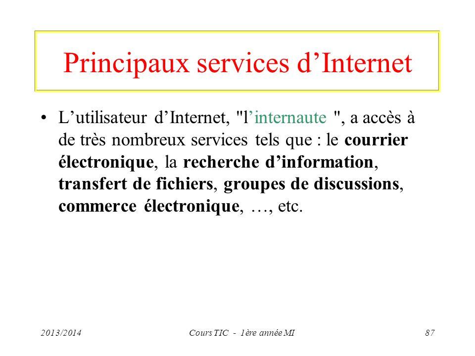 Principaux services dInternet Lutilisateur dInternet,