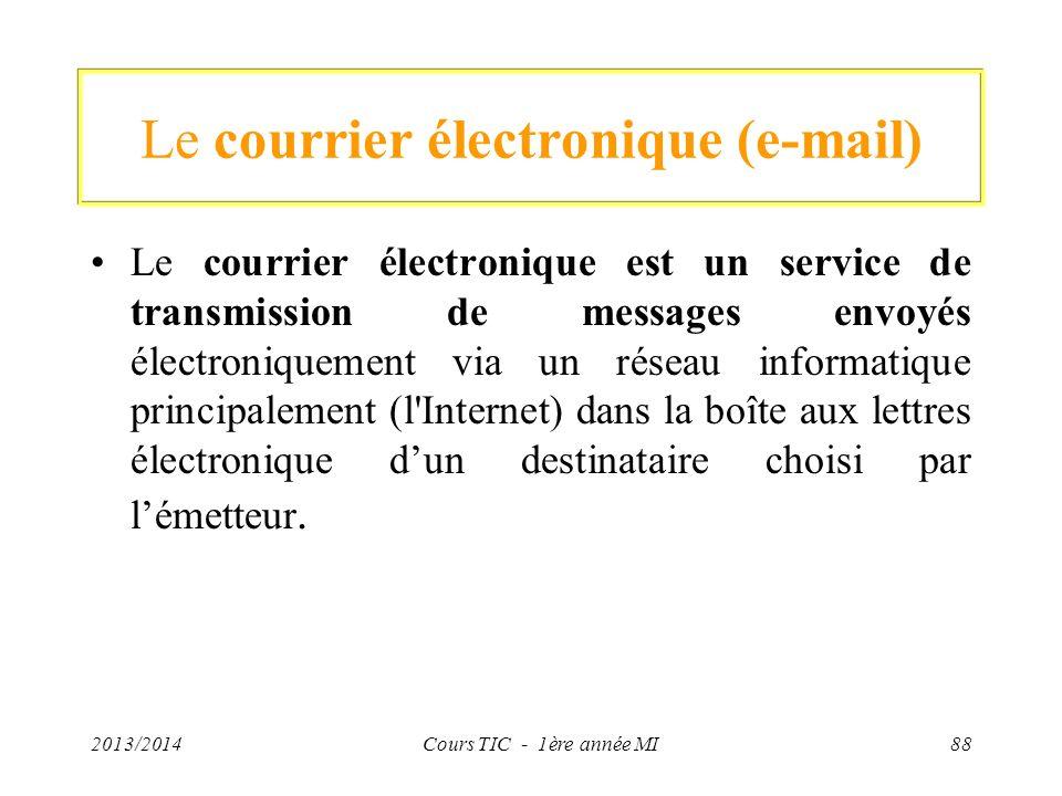 Le courrier électronique (e-mail) Le courrier électronique est un service de transmission de messages envoyés électroniquement via un réseau informati