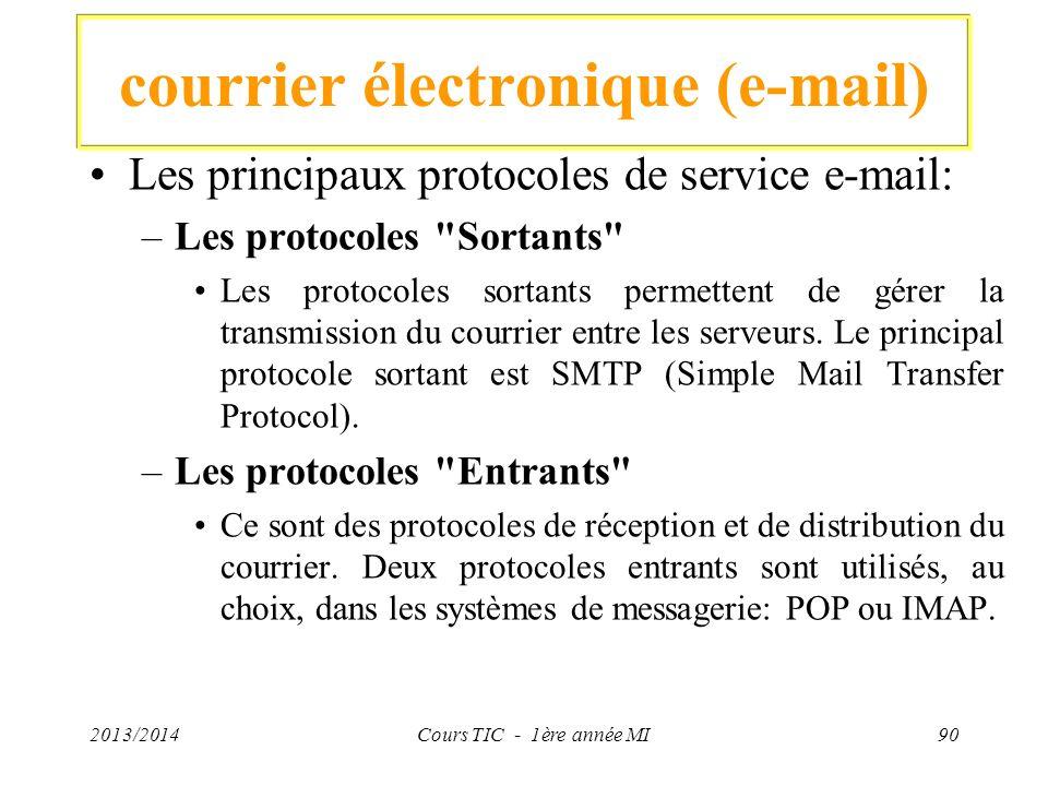 courrier électronique (e-mail) Les principaux protocoles de service e-mail: –Les protocoles