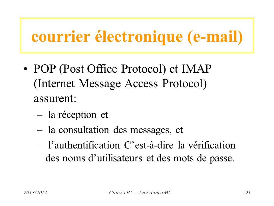 courrier électronique (e-mail) POP (Post Office Protocol) et IMAP (Internet Message Access Protocol) assurent: – la réception et – la consultation des