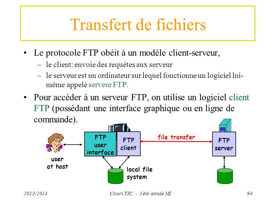 Transfert de fichiers Le protocole FTP obéit à un modèle client-serveur, –le client: envoie des requêtes aux serveur –le serveur est un ordinateur sur