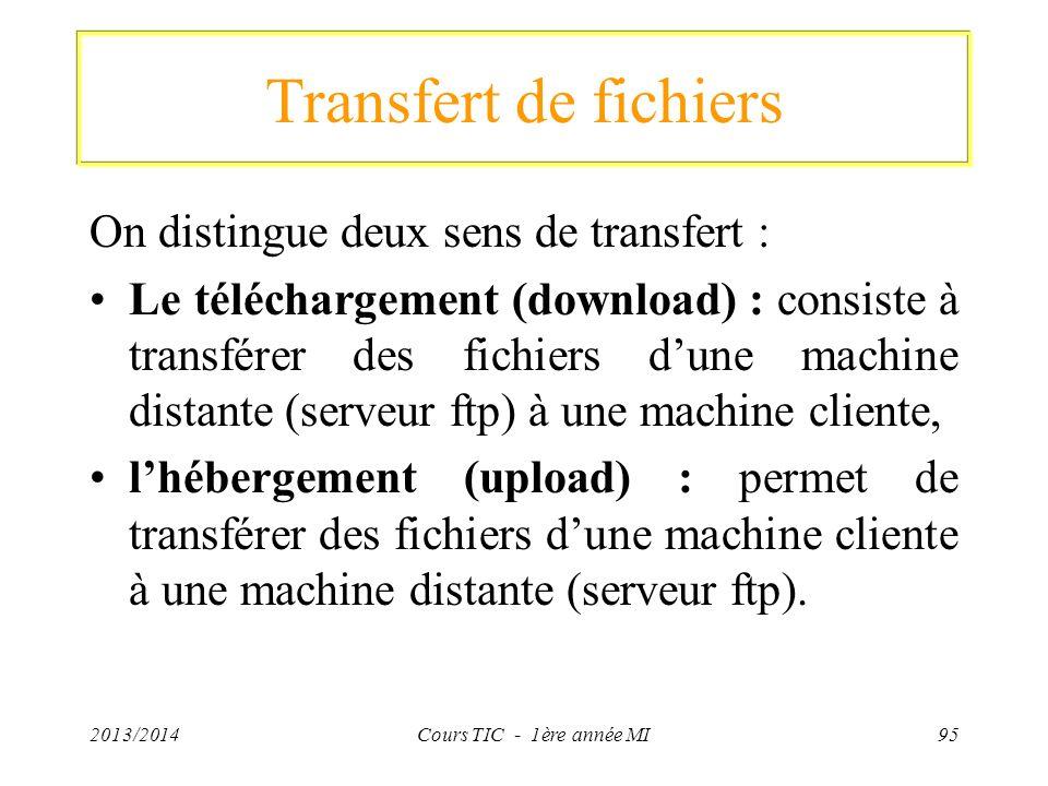 Transfert de fichiers On distingue deux sens de transfert : Le téléchargement (download) : consiste à transférer des fichiers dune machine distante (s