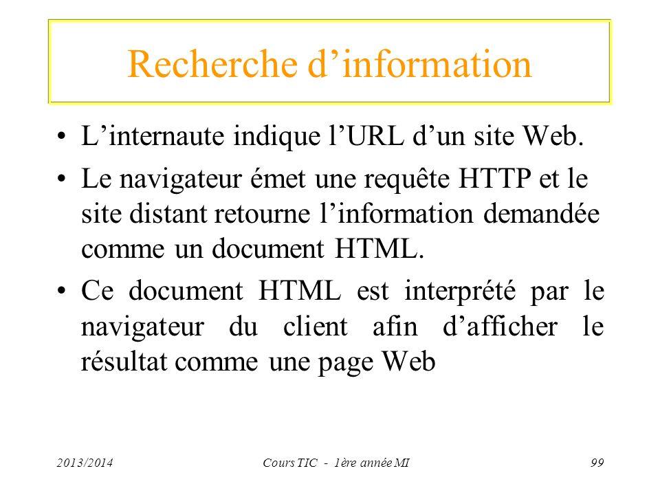 Recherche dinformation Linternaute indique lURL dun site Web. Le navigateur émet une requête HTTP et le site distant retourne linformation demandée co