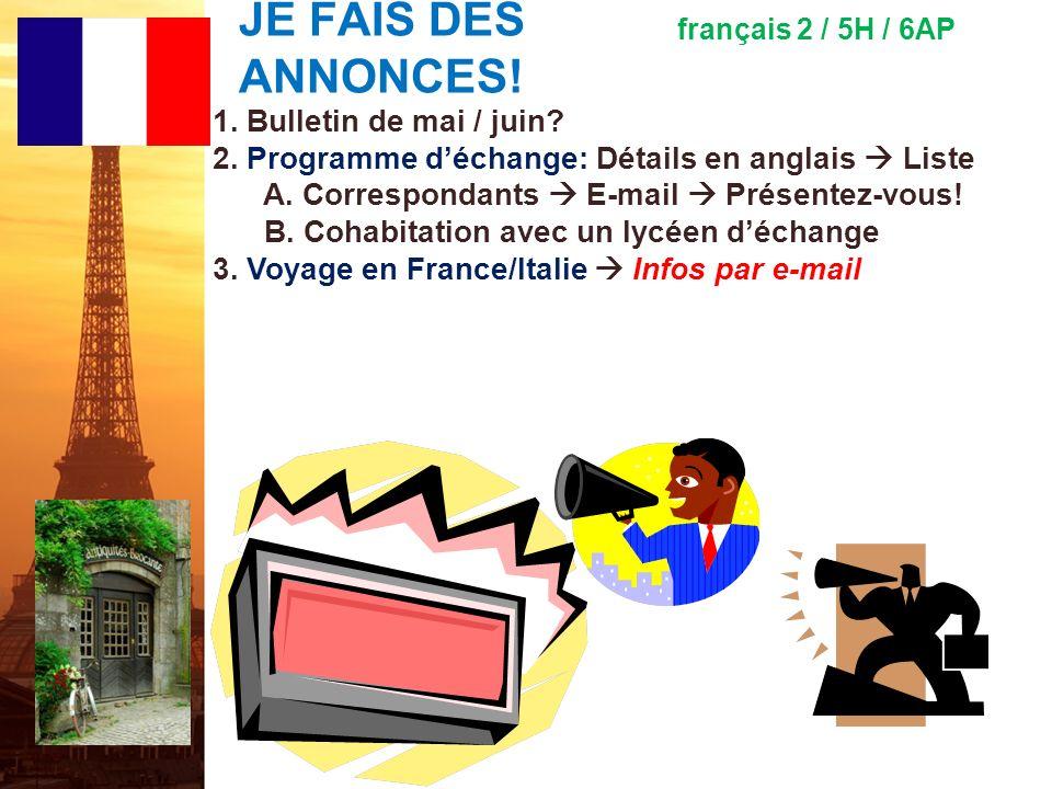 français 5H le 21-22 mai 2012 ActivitéClasseur POUR COMMENCER : AP ® French Language and Culture – Free Response Questions (5 e ) I.
