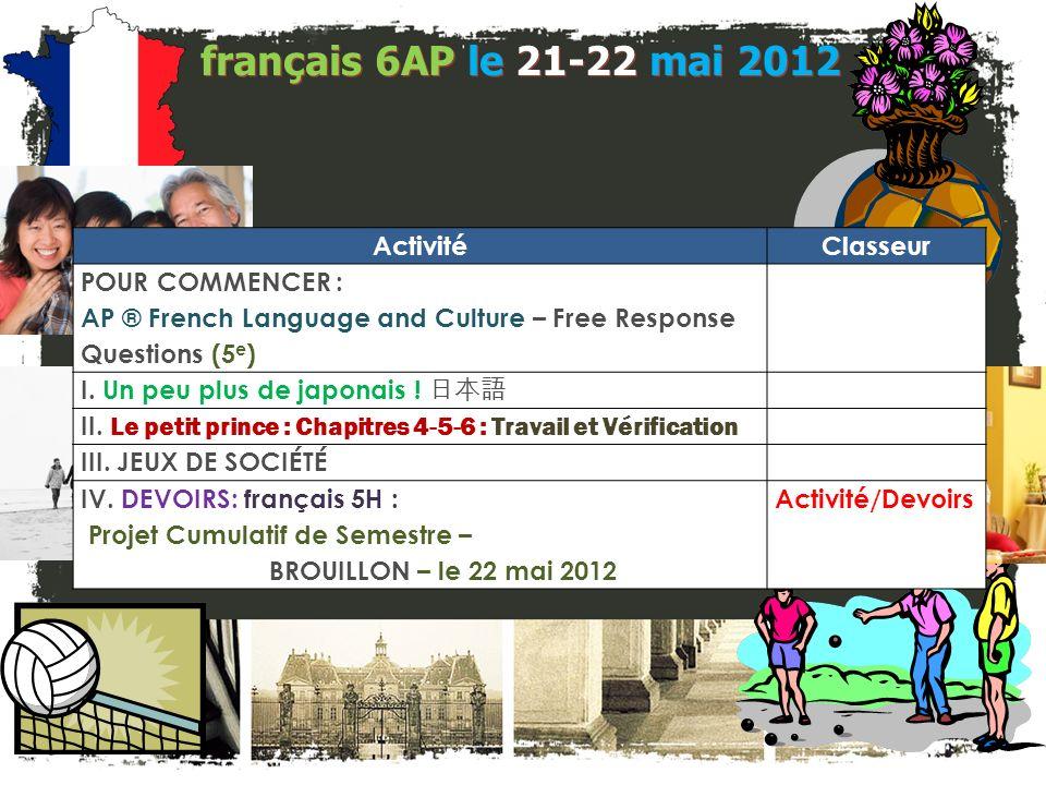 JE FAIS DES ANNONCES! français 2 / 5H / 6AP 1. Bulletin de mai / juin? 2. Programme déchange: Détails en anglais Liste A. Correspondants E-mail Présen