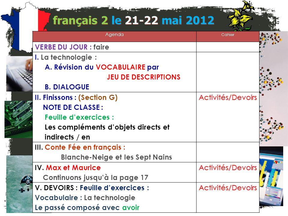 français 2 le 21-22 mai 2012 AgendaCahier VERBE DU JOUR : faire I.