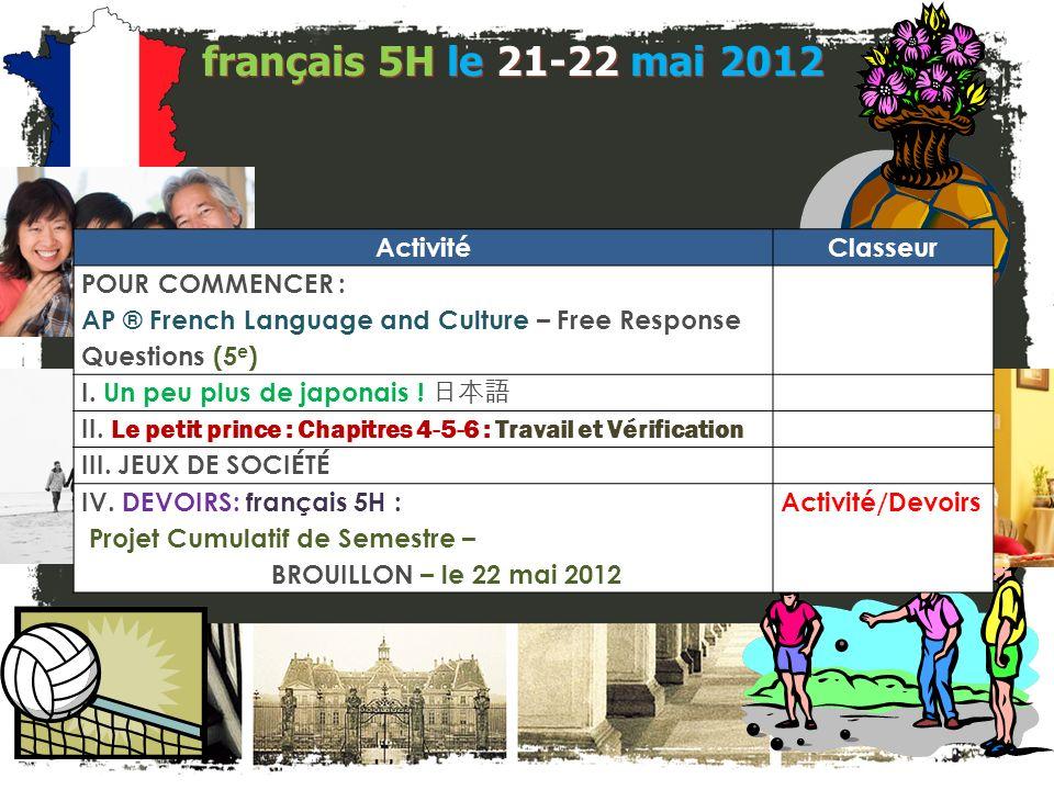 français 6AP le 21-22 mai 2012 ActivitéClasseur POUR COMMENCER : AP ® French Language and Culture – Free Response Questions (5 e ) I.