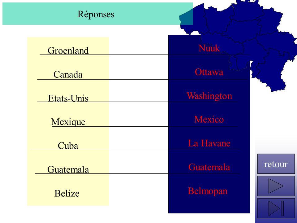 Groenland Canada Etats-Unis Mexique Cuba Guatemala Belize Réponses Nuuk Ottawa Washington Mexico La Havane Guatemala Belmopan retour