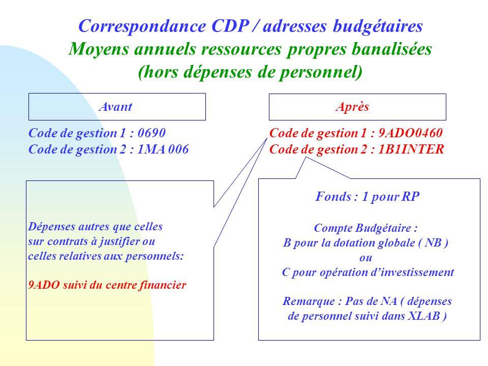 Correspondance CDP / adresses budgétaires Moyens annuels ressources propres banalisées (hors dépenses de personnel) Avant Après Code de gestion 1 : 06