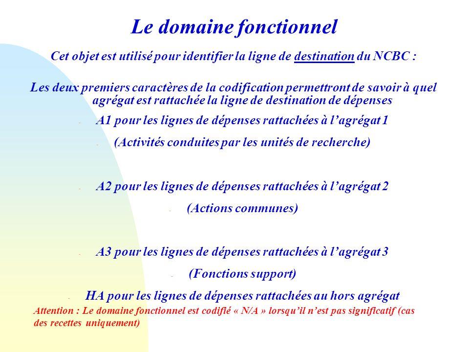 Le domaine fonctionnel Cet objet est utilisé pour identifier la ligne de destination du NCBC : Les deux premiers caractères de la codification permettront de savoir à quel agrégat est rattachée la ligne de destination de dépenses - A1 pour les lignes de dépenses rattachées à lagrégat 1 - (Activités conduites par les unités de recherche) - A2 pour les lignes de dépenses rattachées à lagrégat 2 - (Actions communes) - A3 pour les lignes de dépenses rattachées à lagrégat 3 - (Fonctions support) - HA pour les lignes de dépenses rattachées au hors agrégat Attention : Le domaine fonctionnel est codifié « N/A » lorsquil nest pas significatif (cas des recettes uniquement)