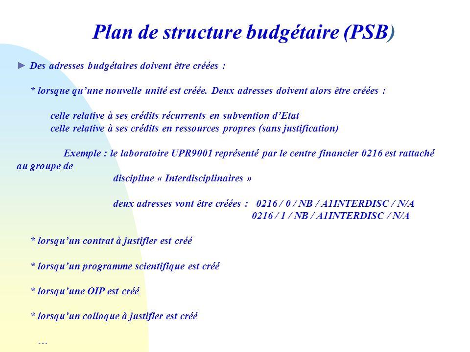 Plan de structure budgétaire (PSB) Des adresses budgétaires doivent être créées : * lorsque quune nouvelle unité est créée. Deux adresses doivent alor
