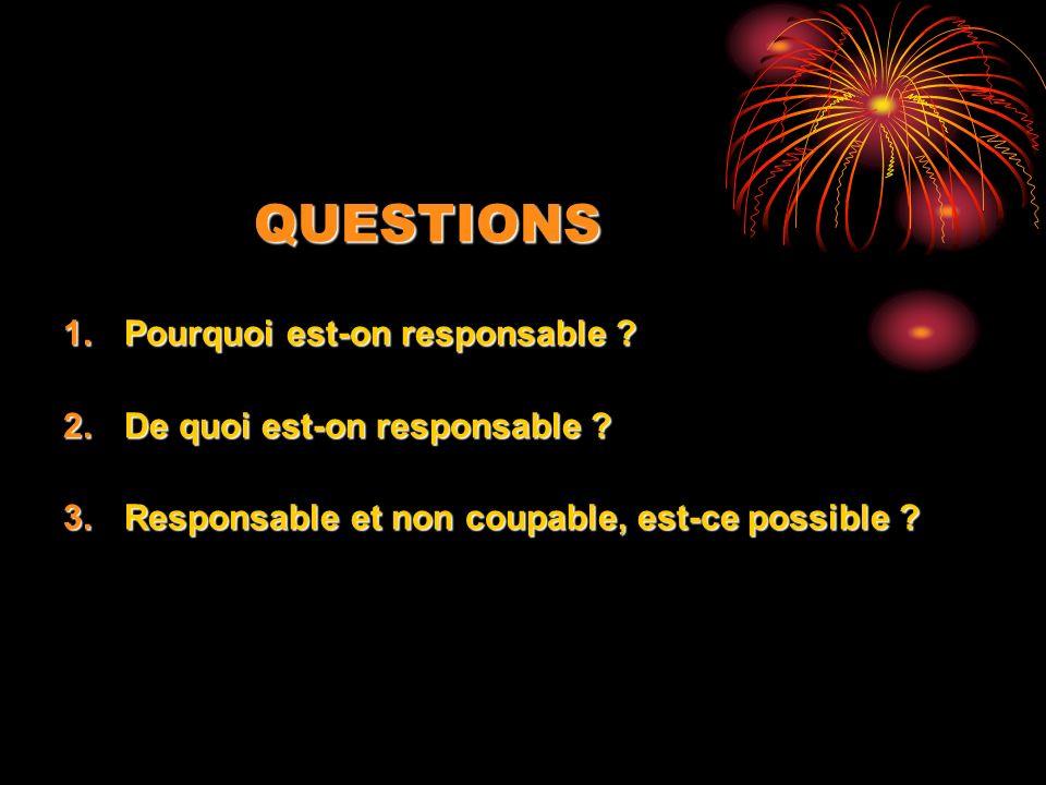 QUESTIONS 1.Pourquoi est-on responsable ? 2.De quoi est-on responsable ? 3.Responsable et non coupable, est-ce possible ?
