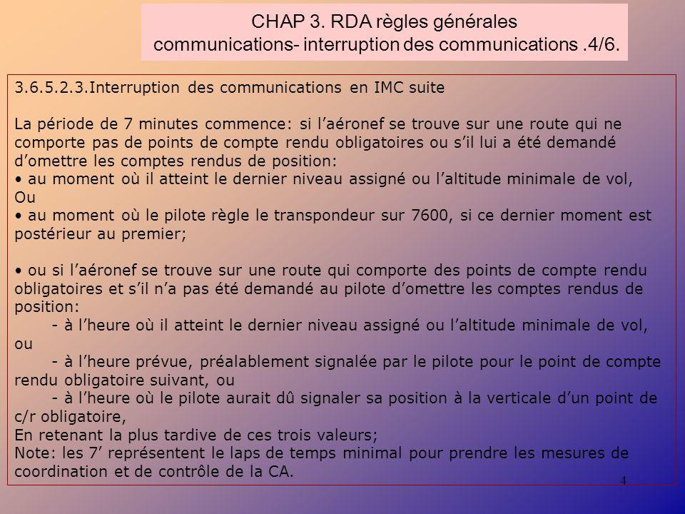 4 CHAP 3. RDA règles générales communications- interruption des communications.4/6. 3.6.5.2.3.Interruption des communications en IMC suite La période