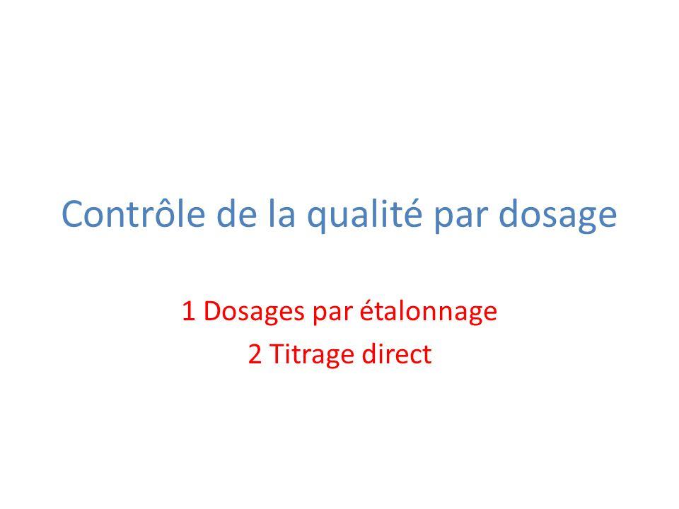 Contrôle de la qualité par dosage 1 Dosages par étalonnage 2 Titrage direct