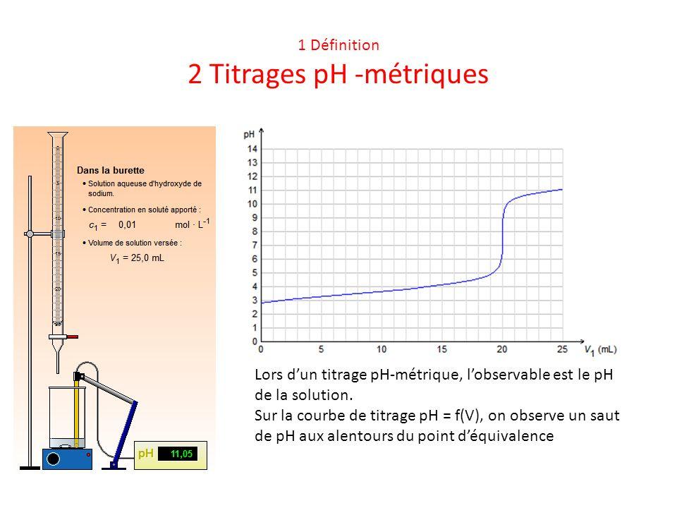1 Définition 2 Titrages pH -métriques Lors dun titrage pH-métrique, lobservable est le pH de la solution. Sur la courbe de titrage pH = f(V), on obser