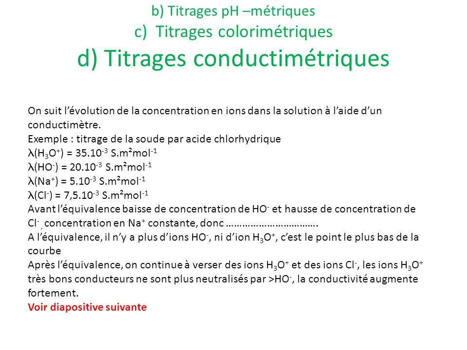a) Définition b) Titrages pH –métriques c) Titrages colorimétriques d) Titrages conductimétriques On suit lévolution de la concentration en ions dans