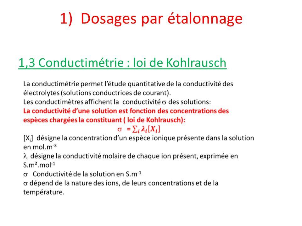 1) Dosages par étalonnage 1,3 Conductimétrie : loi de Kohlrausch est proportionnelle à la concentration en ion
