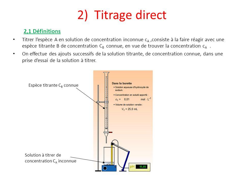 2) Titrage direct 2,1 Définitions Titrer lespèce A en solution de concentration inconnue c A,consiste à la faire réagir avec une espèce titrante B de