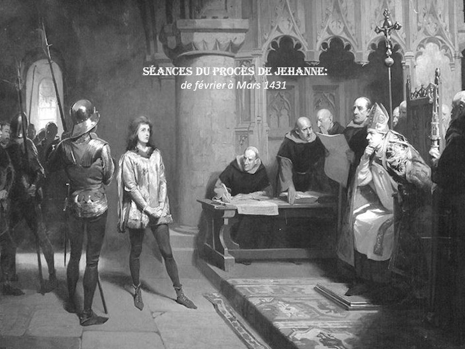 Capturée, accusée dhérésie et emprisonnée à Rouen. Capturée à Compiègne le 23 mai 1430 (elle ne représente plus le roi). rachetée par les Anglais pour