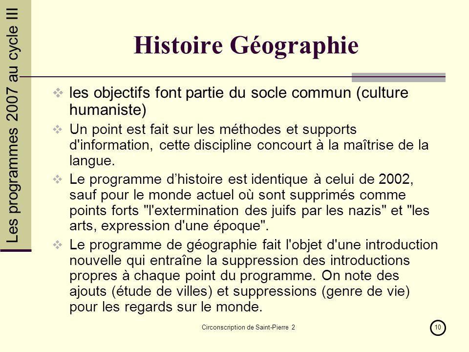 Les programmes 2007 au cycle III Circonscription de Saint-Pierre 210 Histoire Géographie les objectifs font partie du socle commun (culture humaniste)
