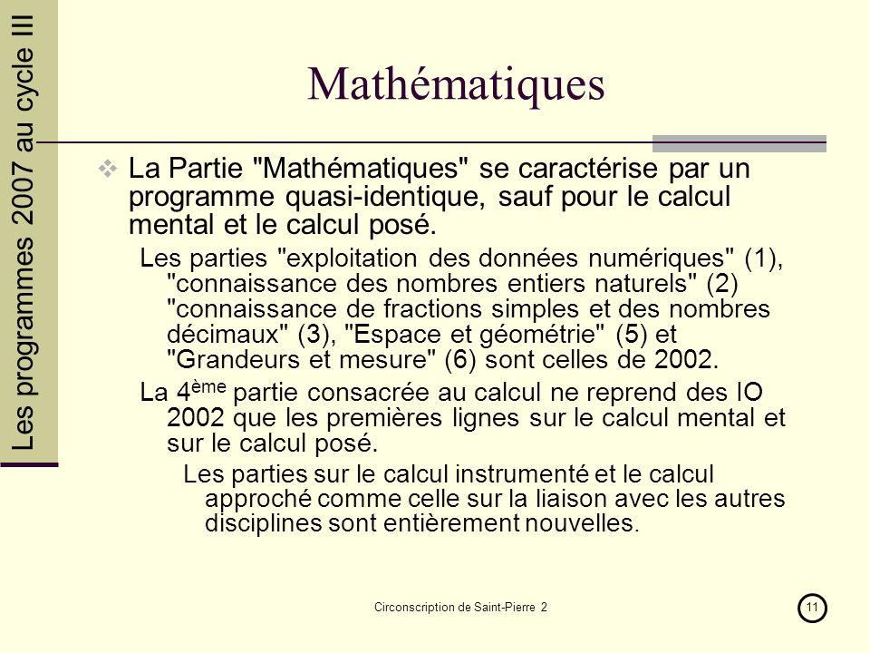Les programmes 2007 au cycle III Circonscription de Saint-Pierre 211 Mathématiques La Partie