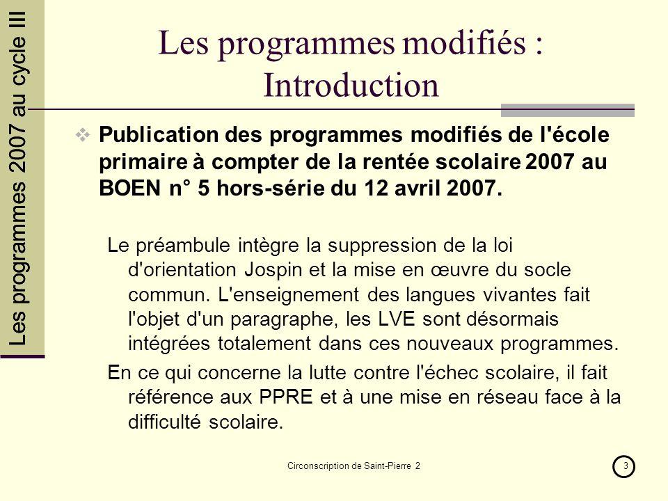 Les programmes 2007 au cycle III Circonscription de Saint-Pierre 214 FIN Principales sources BO N°5 HS du 27 avril 2007 http://crdp.ac-amiens.fr/docad/quoirentree07.htm