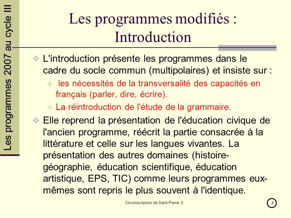 Circonscription de Saint-Pierre 24 Les programmes modifiés : Introduction L'introduction présente les programmes dans le cadre du socle commun (multip