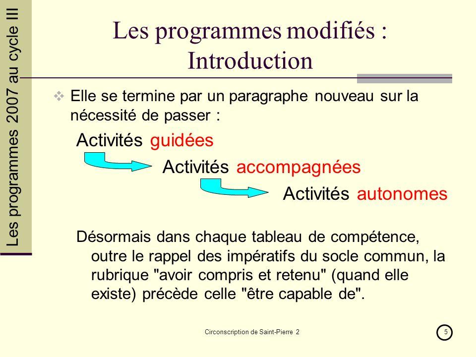 Circonscription de Saint-Pierre 25 Les programmes modifiés : Introduction Elle se termine par un paragraphe nouveau sur la nécessité de passer : Activ