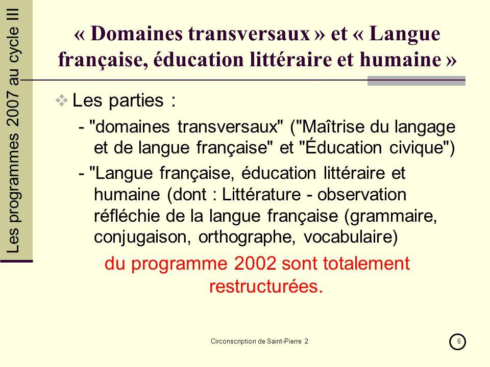 Les programmes 2007 au cycle III Circonscription de Saint-Pierre 26 « Domaines transversaux » et « Langue française, éducation littéraire et humaine »