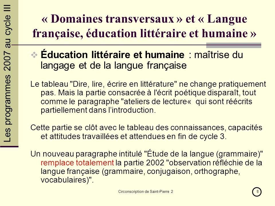 Les programmes 2007 au cycle III Circonscription de Saint-Pierre 28 « Domaines transversaux » et « Langue française, éducation littéraire et humaine »
