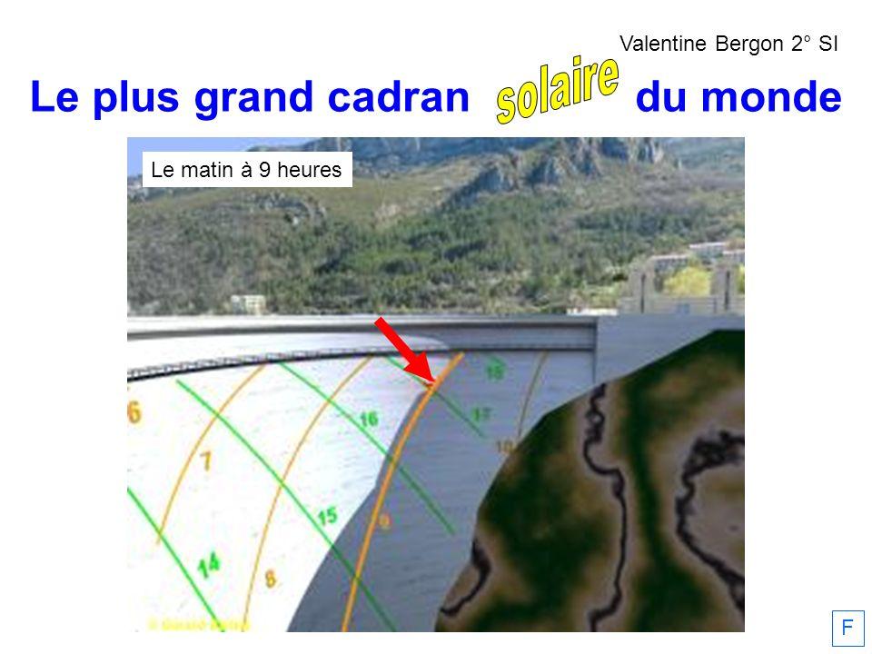 Le matin à 9 heures Le plus grand cadran solaire du monde F Valentine Bergon 2° SI