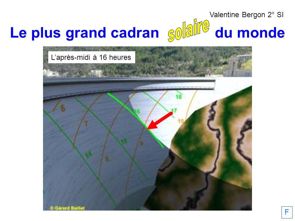 Le plus grand cadran solaire du monde Laprès-midi à 16 heures F Valentine Bergon 2° SI