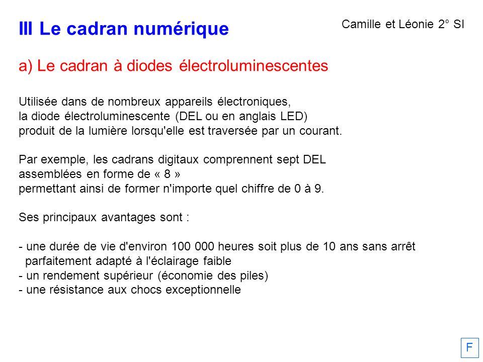 III Le cadran numérique a) Le cadran à diodes électroluminescentes Utilisée dans de nombreux appareils électroniques, la diode électroluminescente (DE